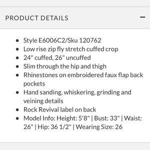 Rock Revival Jeans - NWT Rock Revival Jeans 💎 Meri Crop Size 31 💎